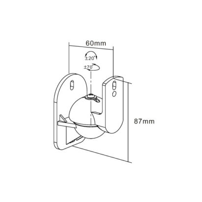 HEOS by Denon Wireless Speaker HEOS 3 Wall Mounting Bracket Dimensions