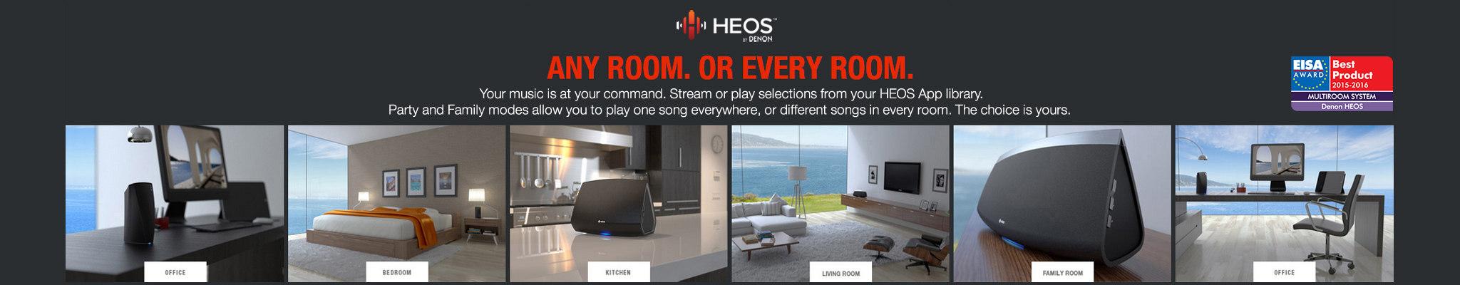 Any Room. Or Every Room | HEOS by Denon | Wireless Multi-Room Speaker System EISA
