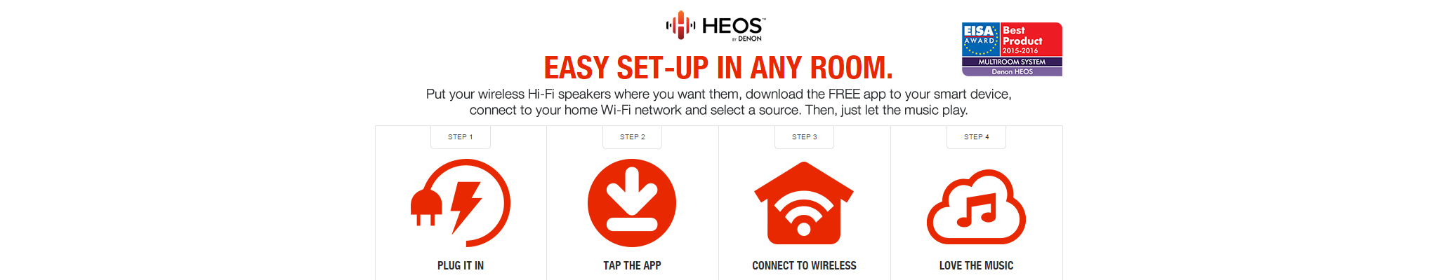 Easy Set Up | HEOS by Denon | Wireless Multi-Room Speaker System - Category