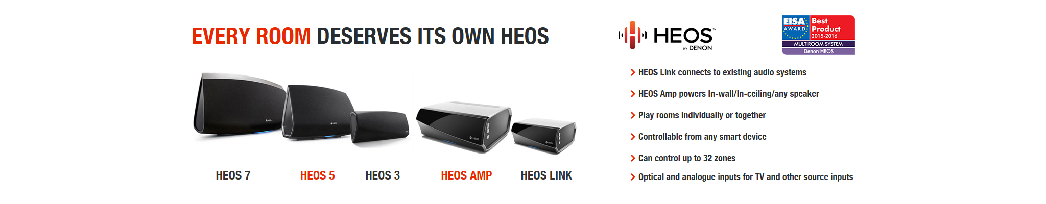 Every Room Deserves a HEOS | HEOS by Denon | Wireless Multi-Room Speaker System EISA